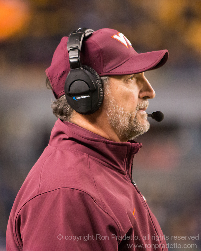 Virginia Tech defensive coordinator Bud Foster. The Virginia Tech Hokies defeated the Pitt Panthers 39-36 on October 27, 2016 at Heinz Field in Pittsburgh, Pennsylvania.