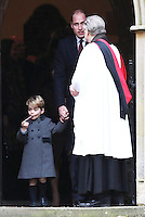 25 December 2016 - Prince William Duke of Cambridge and Prince George attend a morning Christmas Day service at St Mark's Church in Englefield, Berkshire. Photo Credit: Alpha Press/AdMedia
