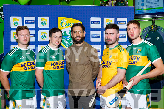 Paul Galvin unvails the new Kerry shirt which he designed in the Kerry GAA shop on Friday l-r: James O'Donoghue, Paul Murphy, Paul Galvin, (Jim checK)