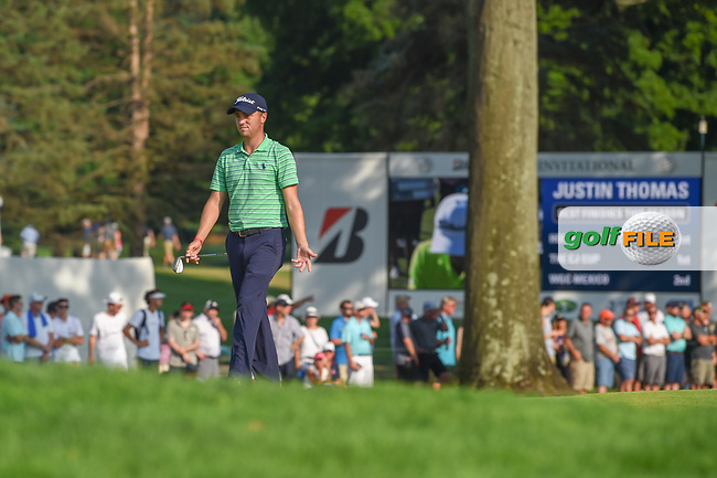 Justin Thomas (USA) looks over his chip on to 18 during 4th round of the World Golf Championships - Bridgestone Invitational, at the Firestone Country Club, Akron, Ohio. 8/5/2018.<br /> Picture: Golffile | Ken Murray<br /> <br /> <br /> All photo usage must carry mandatory copyright credit (© Golffile | Ken Murray)