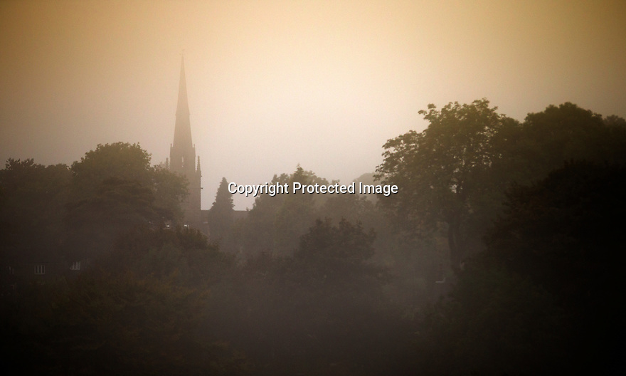 21/09/16 <br /> <br /> With the Autumn Equinox marking the first day of Autumn tomorrow, the spire of St Bartholomew's Church, Butterton, appears through a golden mist in the Staffordshire Moorlands area of the Peak District. Butterton is one of the Thankful Villages that suffered no fatalities in the Great War of 1914-1918.<br /> <br /> All Rights Reserved: F Stop Press Ltd. +44(0)1773 550665   www.fstoppress.com