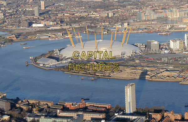 ATMOSPHERE .Aerial view of The O2 Arena, London, England, UK, February 7th 2011..gv g.v. general view landmark Millenium dome river Thames building from above the air Greenwich travel  travel .CAP/FIN.©Steve Finn/Capital Pictures.
