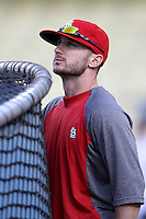 Shane Robinson #43 of the St.Louis Cardinals before a game against the Los Angeles Dodgers at Dodger Stadium on May 18, 2012 in Los Angeles,California. Los Angeles defeated St.Louis 6-5.(Larry Goren/Four Seam Images)