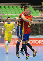 MEDELLIN - COLOMBIA- 21-09-2016: Lozano (Izq) jugador de España celebra con Miguelin después de anotar un gol a Kazajistán durante partido de octavos de final de la Copa Mundial de Futsal de la FIFA Colombia 2016 jugado en el Coliseo Ivan de Bedout en Medellín, Colombia. /  Lozano (L) player of Spain celebrates with Miguelin after scoring a goal to Kazakhstan during match of the knockout stages of the FIFA Futsal World Cup Colombia 2016 played at Ivan de Bedout coliseum in Medellin, Colombia. Photo: VizzorImage / Leon Monsalve /