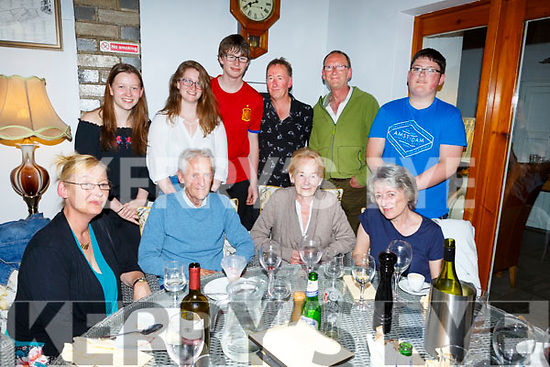 Joe Cotter from St Brendans Park, seated, celebrating his  80th birthday in Bella Bia on Saturday night.  <br /> Seated l-r, Sharon Buckley, Joe, Mary and Louise Cotter.<br /> Back l-r, Amy, Grace, Leo, David and Joe Cotter and Eoin Buckley.