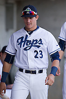 Joey Armstrong (23) of the Hillsboro Hops prior to a game against the Tri-City Dust Devils at Ron Tonkin Field in Hillsboro, Oregon on August 24, 2015.  Tri-City defeated Hillsboro 5-1. (Ronnie Allen/Four Seam Images)