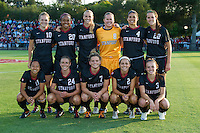 STANFORD, CA - August 17, 2012: The starting 11 before the Stanford vs Santa Clara women's soccer match in Stanford, California. Stanford won 6-1.