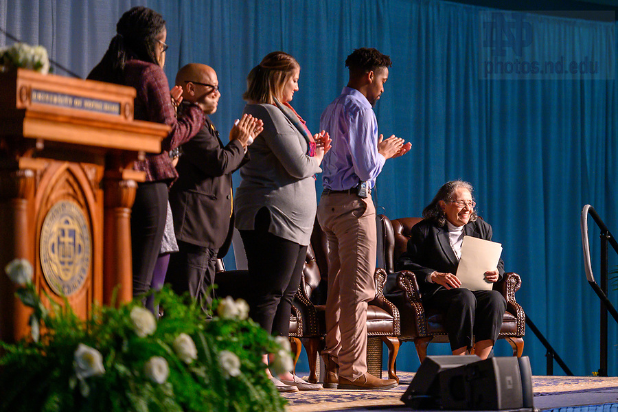 January 20, 2020; Keynote speaker Diane Nash, a leader in the 1960s civil rights movement, is honored with a standing ovation at the conclusion of the 2020 Martin Luther King Jr. Celebration Luncheon. (Photo by Matt Cashore/University of Notre Dame)
