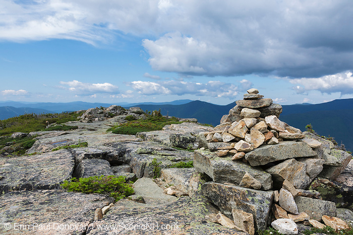 Rock cairn along the Bondcliff Trail on the summit of Bondcliff in the Pemigewasset Wilderness of the New Hampshire White Mountains during the summer months.