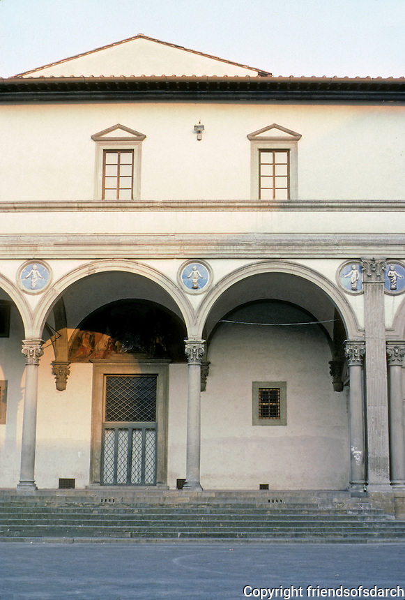 Florence: Piazza Annunziata Foundling Hospital--elevation. Filippo Brunelleschi, 1419.