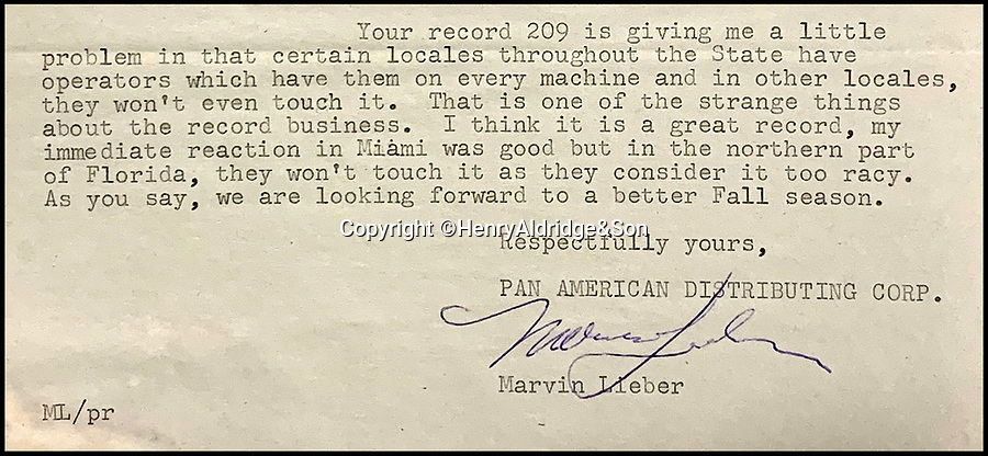 """BNPS.co.uk (01202 558833)<br /> Pic HenryAldridge/BNPS<br /> <br /> Letter from Pan American distributers 'Your record 209 (Thats All Right) is giving me a problem...in the north of Florida they won't touch it as its to racy'.<br /> <br /> In black and white - the winners and losers from the birth of Rock n Roll.<br /> <br /> Never-seen-before letters charting the struggles a record producer had in launching an unknown Elvis Presley into the music world have emerged for sale for £50,000.<br /> <br /> The fascinating archive reveals calamitous calls made by record executives and DJs who rejected Memphis music impresario Sam Phillips' efforts to get Elvis' name out there.<br /> <br /> Mr Phillips, boss of the fledgling star's first record label Sun Records, wrote: """"Sun has released a new artist who is creating a tremendous excitement...his name is Elvis Presley.""""<br /> <br /> The archive of 47 letters includes several rejection letters and is being sold by Henry Aldridge and Son of Devizes, Wilts."""