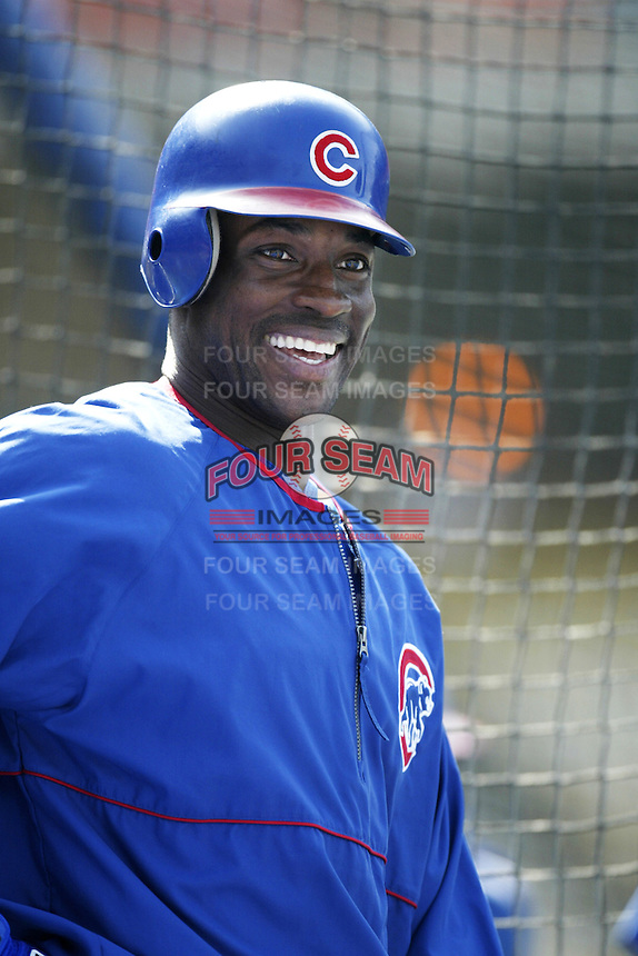 Fred McGriff of the Chicago Cubs before a 2002 MLB season game against the Los Angeles Dodgers at Dodger Stadium, in Los Angeles, California. (Larry Goren/Four Seam Images)
