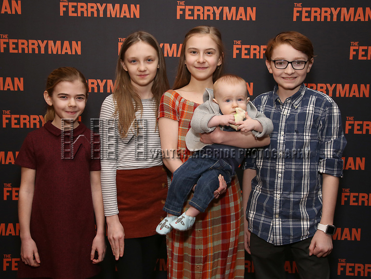 """Matilda Lawler, Willow mcCarthy, Brooklyn Shuck and Michael Quinton McArthur attends the """"The Ferryman"""" cast change photo call on January 17, 2019 at the Sardi's in New York City."""