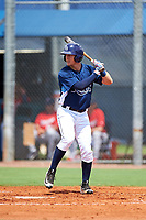 GCL Rays right fielder Jake Stone (8) at bat during the first game of a doubleheader against the GCL Twins on July 18, 2017 at Charlotte Sports Park in Port Charlotte, Florida.  GCL Twins defeated the GCL Rays 11-5 in a continuation of a game that was suspended on July 17th at CenturyLink Sports Complex in Fort Myers, Florida due to inclement weather.  (Mike Janes/Four Seam Images)