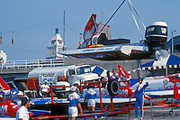 #3 is lifted back to it's trailer. USFORA Formula One (F1) Tunnel Boats, Cincinnati, Ohio 1988