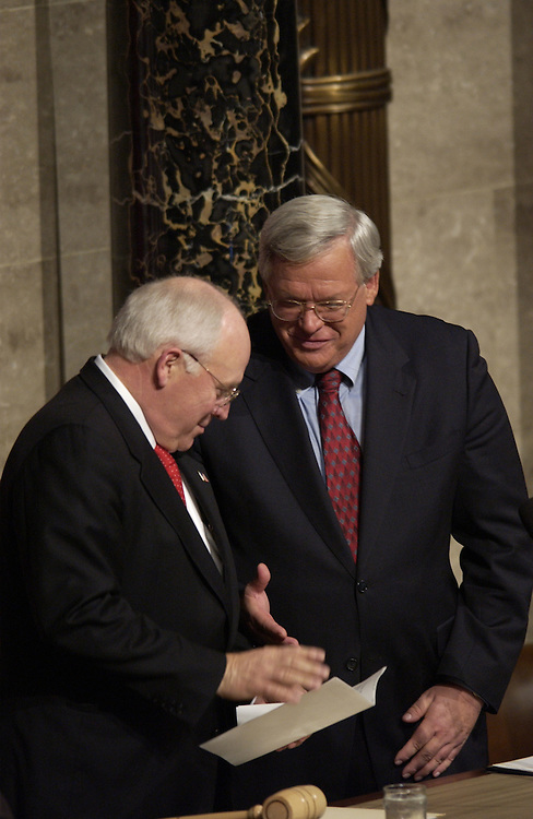 Vice President Dick Cheney and Speaker of the House Dennis Hastert, R-Ill., greet each other before the start of the State of the Union Address.