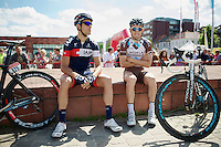 Kevin Ista (BEL/IAM) &amp; Steve Chainel (FRA/Ag2r-LaMondiale) waiting for the start<br /> <br /> World Ports Classic 2014,<br /> stage 2: Antwerpen - Rotterdam (159km)