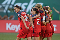 Portland, OR - Saturday July 22, 2017: Portland Thorns FC celebrate during a regular season National Women's Soccer League (NWSL) match between the Portland Thorns FC and the Washington Spirit at Providence Park.