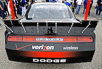 Oct. 30, 2009; Talladega, AL, USA; Detail view of the rear spoiler on the new 2010 car of tomorrow Dodge Challenger to be driven by NASCAR Nationwide Series driver Justin Allgaier at the Talladega Superspeedway. Mandatory Credit: Mark J. Rebilas-