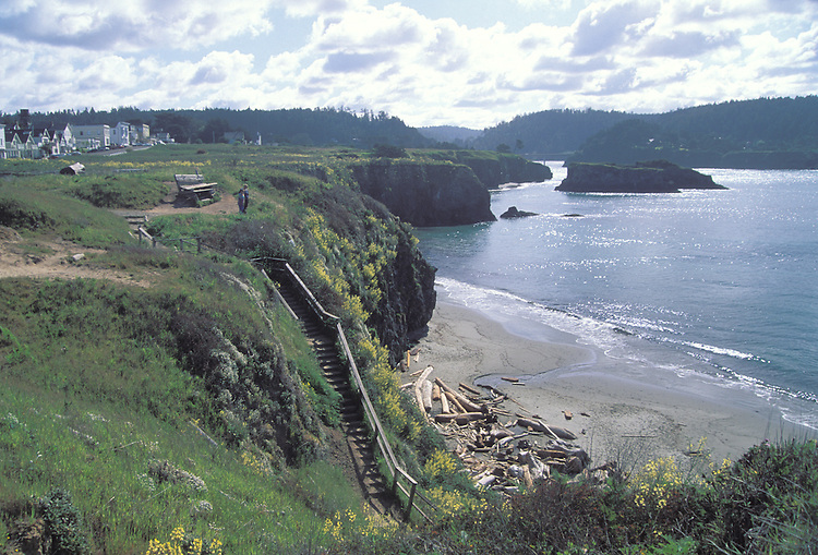Looking down at Portuguese beach, Mendocino California