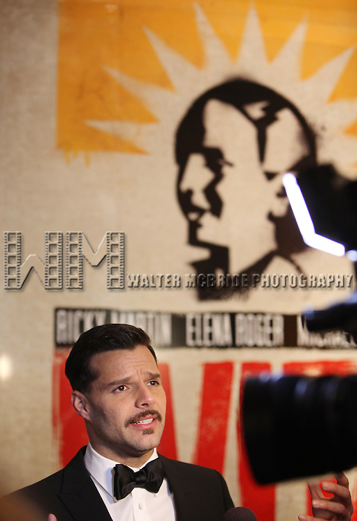 Ricky Martin.attending the Broadway Opening Night Performance After Party for 'EVITA' at the Mariott Marquis Hotel in New York City on 4/5/2012