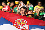 13 JUN 2010:  Serbia fan in the stands with his country's flag.  The Serbia National Team played the Ghana National Team at Loftus Versfeld Stadium in Tshwane/Pretoria, South Africa in a 2010 FIFA World Cup Group D match.