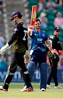 Heino Kuhn raises his bat after his century during the Royal London One Day Cup game between Kent and Gloucestershire at the County Ground, Beckenham, on June 3, 2018