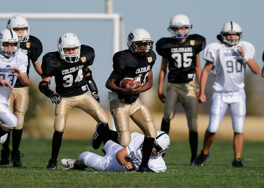 03 October 2009:  A youth league football game between the Buffaloes of Thornton and Broomfield in Broomfeld, Colorado.