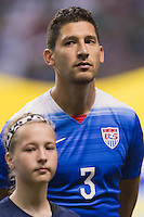United States' defender Omar Gonzalez (3) during the singing of national anthem before an international friendly at the Alamodome, Wednesday, April 15, 2015 in San Antonio, Tex. (Mo Khursheed/TFV Media via AP Images)
