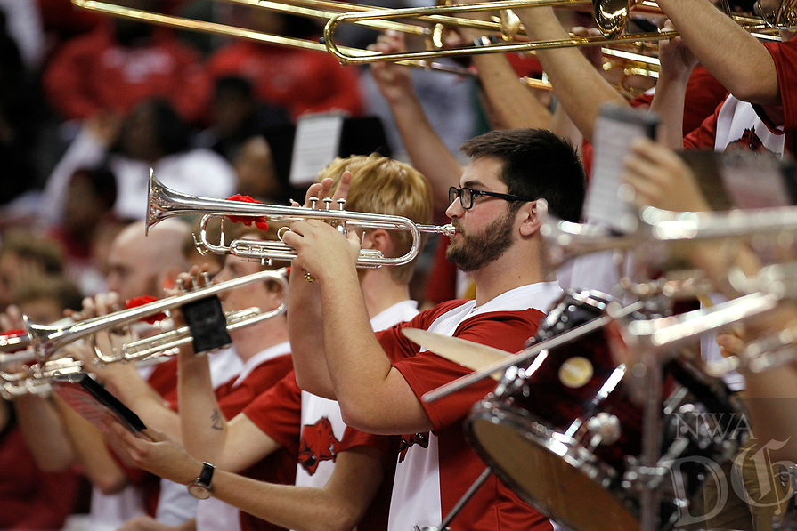 Arkansas Democrat-Gazette/THOMAS METTHE -- 12/16/2018 --<br /> The Arkansas band performs during a timeout in the first half of the Razorbacks' 79-67 win on Saturday, Dec. 15, 2018, at Verizon Arena in North Little Rock.