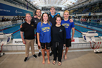NZ Team for the Pan Pacific Champs. (L_R) Coach Gary Hollywood, Matt Scott, Emma Robinson, Daniel Hunter, Charlotte Webby and Lewis Clareburt.  AON Swimming New Zealand National Open Swimming Championships, National Aquatic Centre, Auckland, New Zealand, Friday 6 July 2018. Photo: Simon Watts/www.bwmedia.co.nz