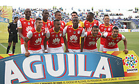 MONTERIA - COLOMBIA, 26-11-2017:Formación del Indepemdiente Santa Fe. Jaguares de Córdoba y El Independiente Santa Fe en partido de los cuartos de final ida de la Liga Aguila II - 2017, jugado en el estadio Jaraguay de la ciudad de Montería.. / Team of Independiente Santa Fe.Jaguares of Cordoba and Independiente Santa Fe during a match for the first leg between Jaguares of Cordoba  and Independiente Santa Fe , to the quarter of finals for the Liga Aguila II - 2017 at the Jaraguay  Stadium in Monteria city: Vizzorimage / Felipe Caicedo / Staff