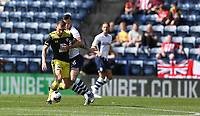 Preston North End's Andrew Hughes and Southampton's Pierre-Emile Hojbjerg<br /> <br /> Photographer Stephen White/CameraSport<br /> <br /> Football Pre-Season Friendly - Preston North End v Southampton - Saturday July 20th 2019 - Deepdale Stadium - Preston<br /> <br /> World Copyright © 2019 CameraSport. All rights reserved. 43 Linden Ave. Countesthorpe. Leicester. England. LE8 5PG - Tel: +44 (0) 116 277 4147 - admin@camerasport.com - www.camerasport.com