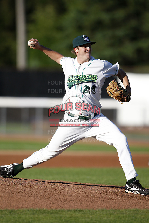 June 23, 2009:  Pitcher Matthew Montgomery of the Jamestown Jammers delivers a pitch during a game at Russell Diethrick Park in Jamestown, NY.  The Jammers are the NY-Penn League Short-Season Class-A affiliate of the Florida Marlins.  Photo by:  Mike Janes/Four Seam Images