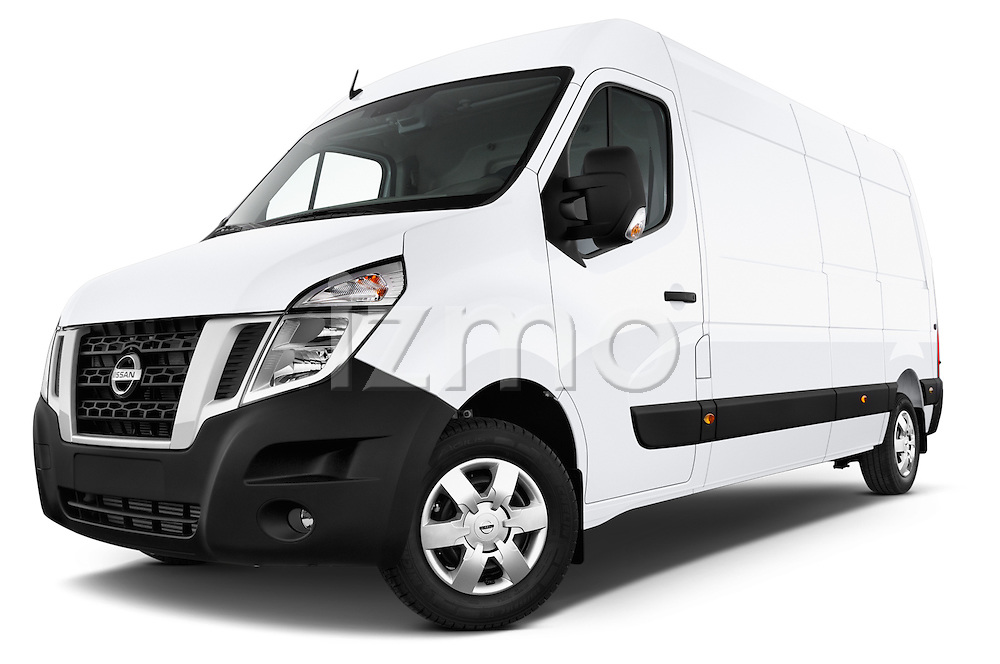 Stock pictures of low aggressive front three quarter view of2015 Nissan NV 400 Business 4 Door Cargo Van Low Aggressive