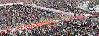 Vescovi e cardinali in processione all'apertura della messa per la Domenica delle Palme celebrata dal Papa in Piazza San Pietro, Citta' del Vaticano, 24 marzo 2013..Bishops and cardinals go in procession to the Palm Sunday Mass celebrated by the Pope in St. Peter's square at the Vatican, 24 March 2013..UPDATE IMAGES PRESS/Isabella Bonotto..STRICTLY ONLY FOR EDITORIAL USE