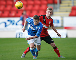 St Johnstone v Rangers...29.09.15   SPFL Development League  McDiarmid Park, Perth<br /> Craig Thomson holds off Jamie Mills<br /> Picture by Graeme Hart.<br /> Copyright Perthshire Picture Agency<br /> Tel: 01738 623350  Mobile: 07990 594431