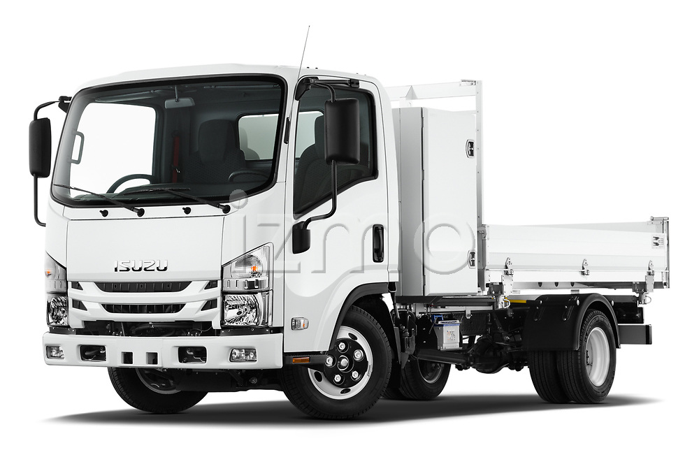 Stock pictures of low aggressive front three quarter view of a 2019 Isuzu N-Serie Base 2 Door Pick Up
