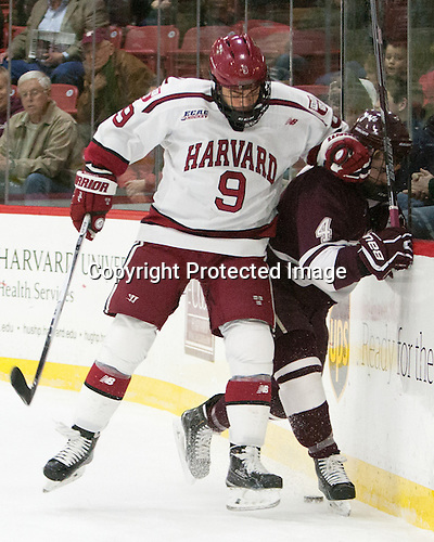 Luke Esposito (Harvard - 9), Kevin Lough (Colgate - 4) - The Harvard University Crimson defeated the visiting Colgate University Raiders 7-4 (EN) on Saturday, February 20, 2016, at Bright-Landry Hockey Center in Boston, Massachusetts,