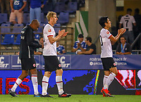 Gelson Fernandes (Eintracht Frankfurt), Martin Hinteregger (Eintracht Frankfurt), Daichi Kamada (Eintracht Frankfurt) bedanken sich bei den Fans - 22.08.2019: Racing Straßburg vs. Eintracht Frankfurt, UEFA Europa League, Qualifikation, Commerzbank Arena<br /> DISCLAIMER: DFL regulations prohibit any use of photographs as image sequences and/or quasi-video.