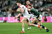 4th November 2017, Sydney Football Stadium, Sydney, Australia; Rugby League World Cup, England versus Lebanon; John Bateman of England runs past Mitchell Moses of Lebanon