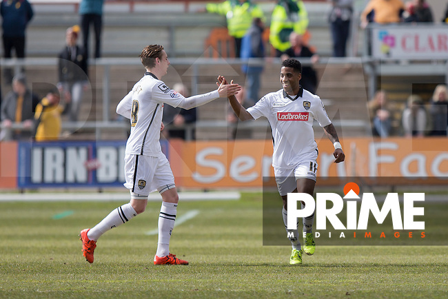 Genaro Snijders of Notts County celebrates scoring his side's first goal with Elliott Hewitt during the Sky Bet League 2 match between Newport County and Notts County at Rodney Parade, Newport, Wales on 30 April 2016. Photo by Mark  Hawkins / PRiME Media Images.