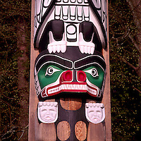Close Up Detail of Bear on Kwakwaka'wakw (Kwakiutl) Totem Pole, called Chief Wakas Pole, at Brockton Point in Stanley Park, Vancouver, British Columbia, Canada.