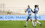 Kiera Walsh of Manchester City Women celebrates scoring the winning goal during the Champions League last 16 tie, first leg between Manchester City Women and Brondby IF at the Academy Stadium. <br /> <br /> Photo credit should read: Lynne Cameron/Sportimage