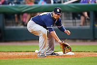 New Hampshire Fisher Cats first baseman Rowdy Tellez (34) waits for a throw during a game against the Harrisburg Senators on June 2, 2016 at FNB Field in Harrisburg, Pennsylvania.  New Hampshire defeated Harrisburg 2-1.  (Mike Janes/Four Seam Images)