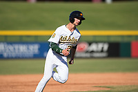 Mesa Solar Sox shortstop Eli White (21), of the Oakland Athletics organization, rounds third base during an Arizona Fall League game against the Glendale Desert Dogs at Sloan Park on October 27, 2018 in Mesa, Arizona. Glendale defeated Mesa 7-6. (Zachary Lucy/Four Seam Images)