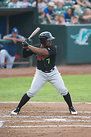 Great Falls Voyagers designated hitter Maiker Feliz (7) at bat during a Pioneer League against the Ogden Raptors at Lindquist Field on August 23, 2018 in Ogden, Utah. The Ogden Raptors defeated the Great Falls Voyagers by a score of 8-7. (Zachary Lucy/Four Seam Images)