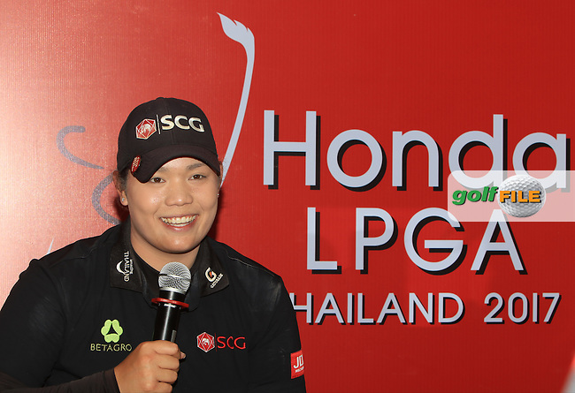 Ariya Jutanugarn (THA) during an interview after Round 1 of the Honda LPGA Thailand on Thursday 23rd February 2017.<br /> Picture:  Thos Caffrey / Golffile
