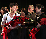 Ricky Martin & Max Von Essen with the Company.during the Broadway Opening Night Performance Curtain Call for 'EVITA' at the Marquis Theatre in New York City on 4/5/2012