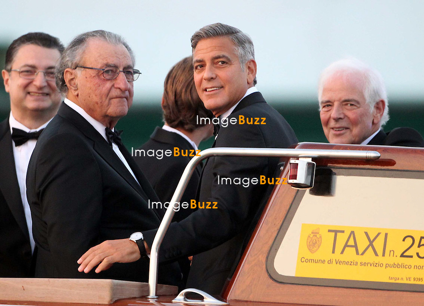 Ramzi Alamuddin, George Clooney &amp; his father Nick Clooney  - GEORGE CLOONEY &amp; AMAL ALAMUDDIN WEDDING CEREMONY AT THE AMAN RESORTS HOTEL IN VENICE - <br /> George Clooney &amp; British fiancee Amal Alamuddin and guests on taxi boat on the Grand Canal on their way to the seven-star Aman Hotel for the wedding celebrations.<br /> Robert De Niro, Matt Damon, Brad Pitt and Cate Blanchett were among the other stars, like Cindy Crawford, Rande Geber, Bill Murray, Emily Blunt.<br /> Italy, Venice, 27 September, 2014.